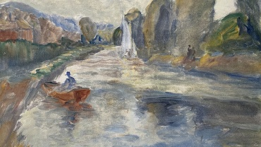 Boats on a Stream, painting by Ronald Ossory Dunlop