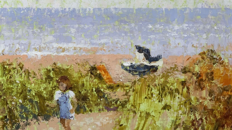 Child in the dunes Walberswick by Lionel Bulmer