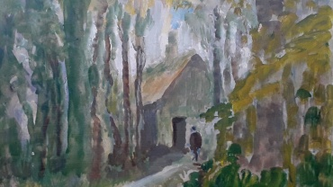 Cottage in the Woods, painting by Ronald Ossory Dunlop