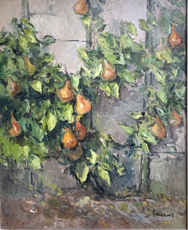 Espalier Pears, painting by Leopold Pascal