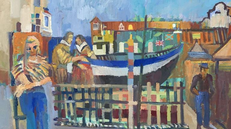 Fisherman, painting by Derek Inwood