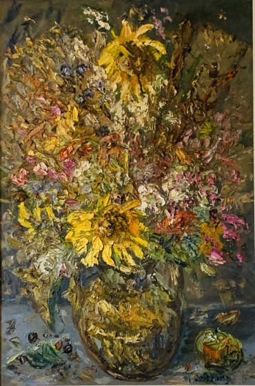 Flowers in a Vase, painting by Michael J Strang
