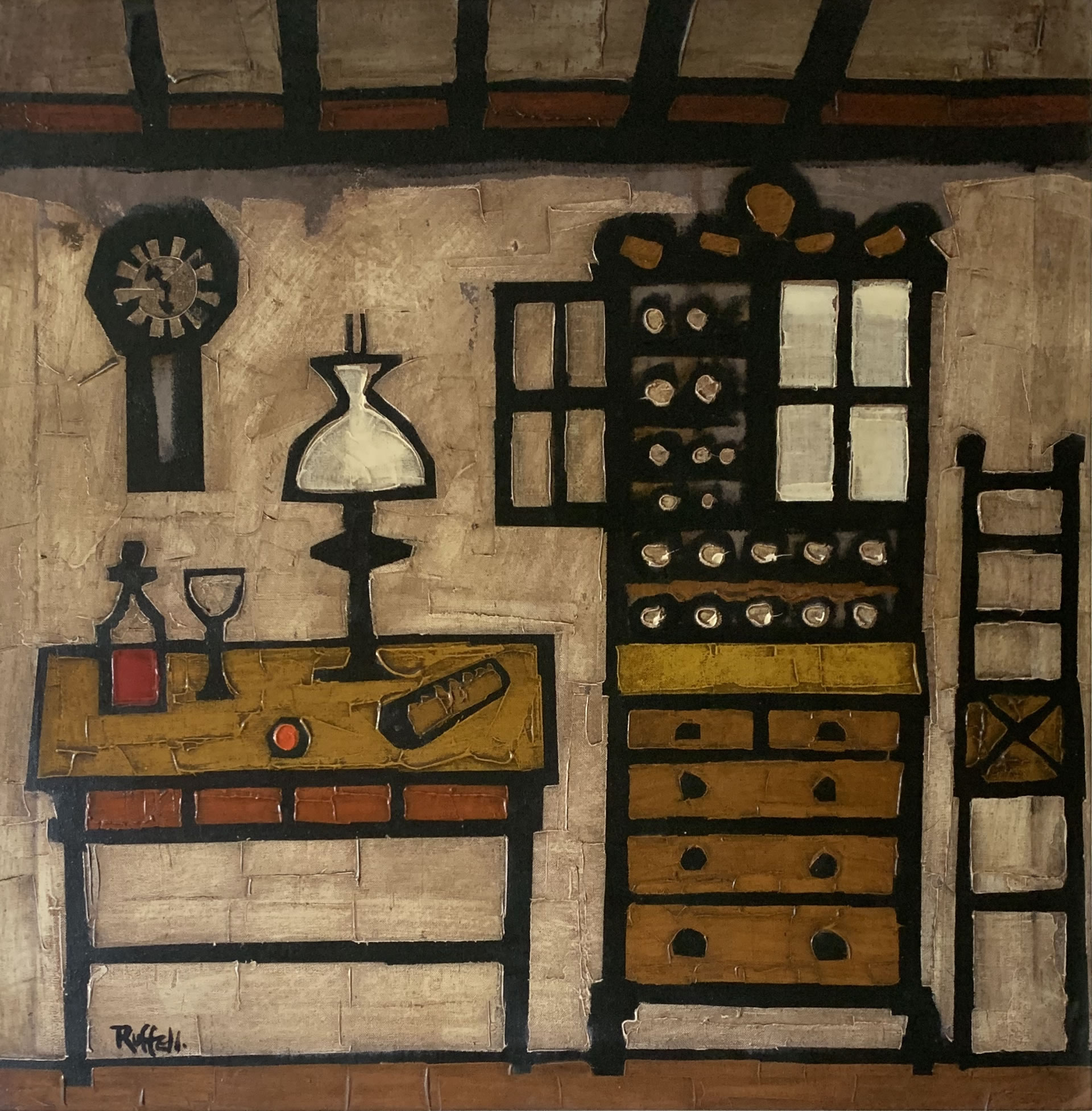 Kitchen Still Life, painting by Colin Ruffell