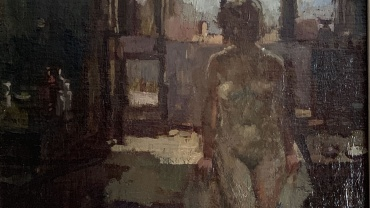Nude in front of a Window, painting by Bernard Dunstan RA