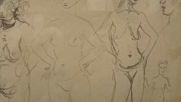 Study of Heads and Nudes, drawing by August John OM