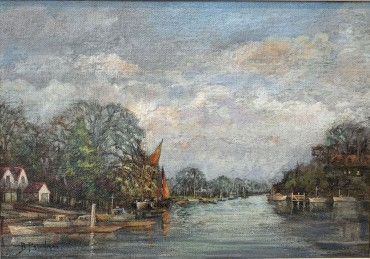 Thames Barges on the River, painting by Bertram Priestman RA