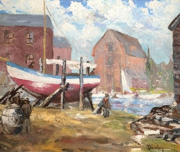 The Boat Yard at Walberswick, painted by Ronald Ossory Dunlop RA
