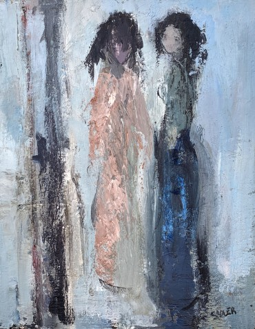 Two Girls, painting by Robert Sadler