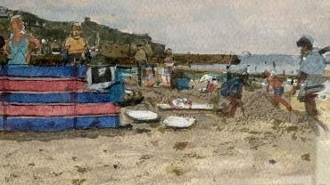 Wind breaks Sennen 1987, painted by Ken Howard OBE RA