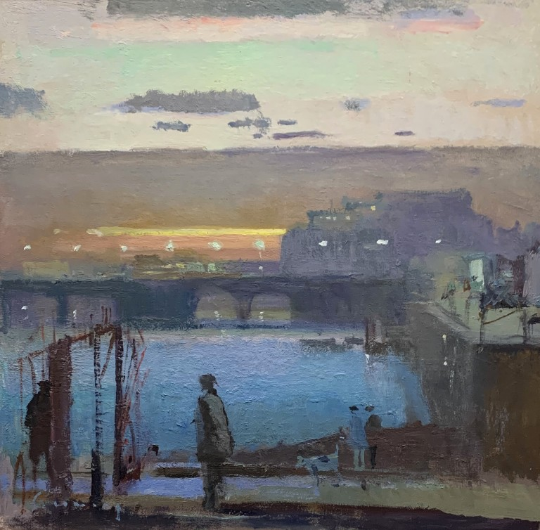 Folkestone Harbour February Evening, Fred Cuming at Granta Fine Art