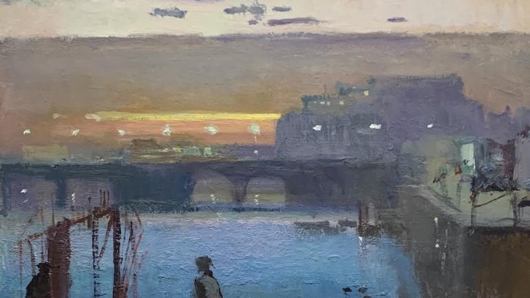 Folkestone Harbour February Evening, Fred Cuming at Granta Fine Art
