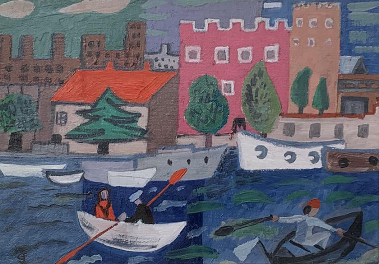 Mediterranean Harbour with Boatmen by