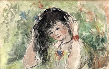 Young Girl In The Garden by Elinor Bellingham-Smith at Granta Fine Art