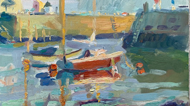 Whitby Harbour by Andrew Farmer ROI at Granta Fine Art