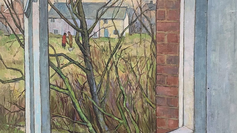 Dog Walkers through Window by Robin Mackertich at Granta Fine Art