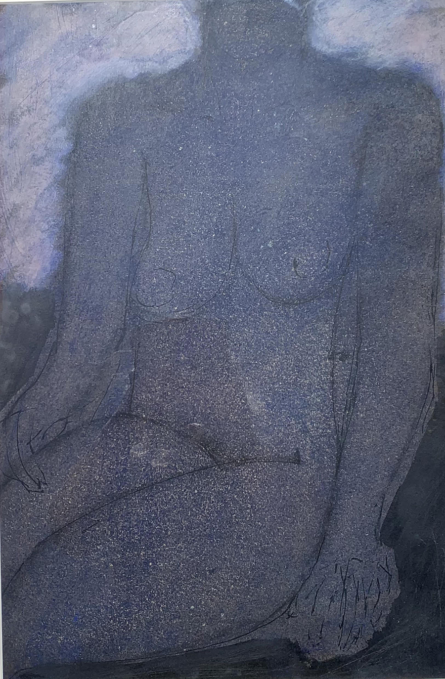 Blue Seated Nude