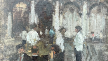 Waiters at Florians by Bernard Dunstan RA at Granta Fine Art